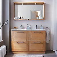 Miroir lumineux bois chêne naturel Cooke & Lewis Isle 120 cm