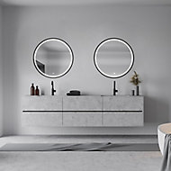 Miroir lumineux LED Naos Black Ø80 x 3 cm