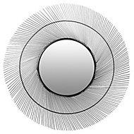 Miroir métal soleil noir Ø55cm