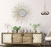 Miroir mural soeil métail Ø 91 cm doré