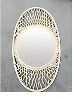 Miroir ovale en rotin 82 x 48 cm