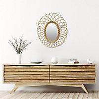 Miroir ovale rotin naturel 50x58 cm