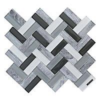 Mosaïque 31,5 x 27,5 cm Chevron mix verre imprimé