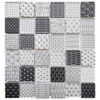Mosaïque art déco travertin et verre noir et blanc 4,8 x 4,8 cm
