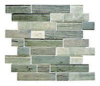 Mosaïque briques brillant marron 34 x 30 cm