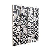 Mosaïque carreaux de ciment blanc et noir 30 x 30 cm
