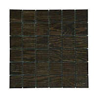 Mosaïque décor chêne marron 5 x 5 cm