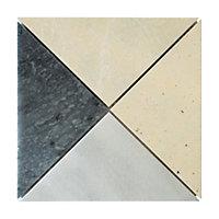 Mosaïque marbre et travertin 20 x 20 cm Arlequin motif 1