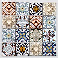 Mosaïque multi-couleur 7,2 x 7,2 cm Bada travertin