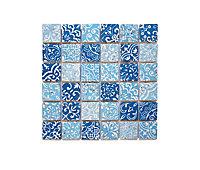 Mosaïque travertin Baroque bleu 4,8 x 4,8 cm