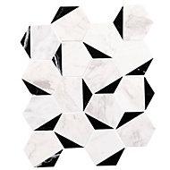 Mozaïque Marquina noir et blanc 29,6 x 25,7 cm