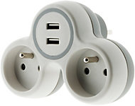Multiprise 2 prises Diall 16A USB blanc/gris