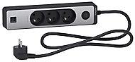 Multiprise 3 prises + 2 USB Schneider Electric Odace alu 1.5 m