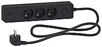 Multiprise 3 prises + 2 USB Schneider Electric Odace anthracite 1.5 m