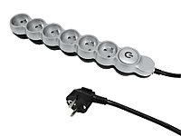 Multiprise 6 prises 2m Diall avec interrupteur gris/noir