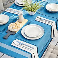 Nappe frange Blooma Rural 140 x 275 cm bleu