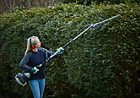 Outil de jardin multifonctions thermique Mac Allister 25 cc, débroussailleuse, coupe-bordures, taille-haie, élagueuse