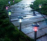 Pack de 8 balises solaire à piquer LED acier inoxydable IP44