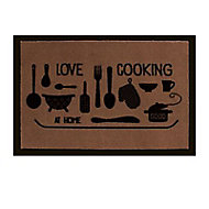 Paillasson taupe 50 x 75 cm Love Cooking