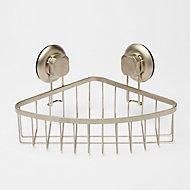 Panier d'angle Tenno avec ventouse pour douche acier chromé et ABS GoodHome