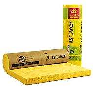 Panneau laine de verre Isover GR32 kraft - 1,2 x 2,7 m ép.100 mm (vendu au rouleau)