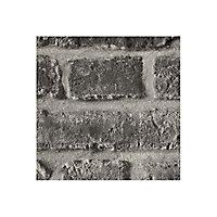Papier peint brique sablée gris foncé