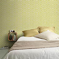 Papier peint intissé géométrique square jaune