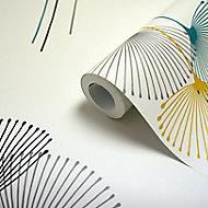 Papier peint intissé GoodHome Bahiana sarcelle et jaune