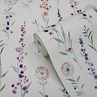 Papier peint intissé GoodHome Bifora mauve 53cm