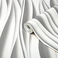 Papier peint intissé GoodHome Kobresia blanc 53cm