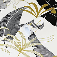 Papier peint intissé GoodHome Selago noir or et blanc 53cm