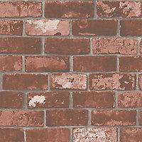 Papier peint intissé sur intissé Arcelot brique rouge