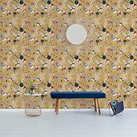 Papier peint oriental motif floral