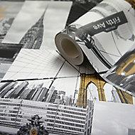 Papier peint papier duplex Festuca noir et blanc