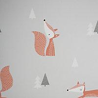 Papier peint papier duplex Peyote gris et orange 53cm