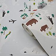 Papier peint papier duplex Poggea multicolore