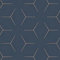 Papier peint papier duplex Wandou bleu roi et or 53cm