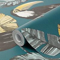 Papier peint Phane intissé 150 sarcelle