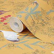 Papier peint vinyle intissé oiseaux japonais GoodHome ocre