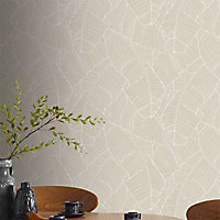 Papier peint vinyle sur intissé Bananier taupe