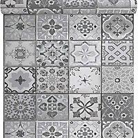 Papier peint vinyle sur intissé Carreau de ciment gris mat