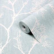 Papier peint vinyle sur intissé Drave bleu