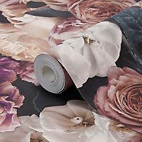 Papier peint vinyle sur intissé drosera mauve