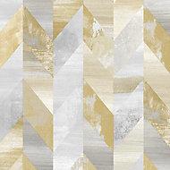 Papier peint vinyle sur intissé géométrique gris jaune Graham & Brown