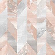 Papier peint vinyle sur intissé géométrique gris rose Graham & Brown