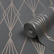 Papier peint vinyle sur intissé GoodHome Ajuga noir 53cm