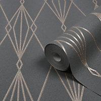 Papier peint vinyle sur intissé GoodHome Ajuga noir