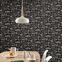 Papier peint vinyle sur intissé GoodHome Hoodia noir et blanc 53cm