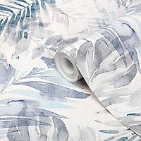 Papier peint vinyle sur intissé GoodHome Jarava bleu 53cm