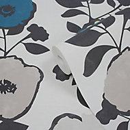 Papier peint vinyle sur intissé GoodHome Luzul bleu et jaune
